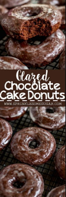 GLAZED CHOCOLATE CAKE DONUTS