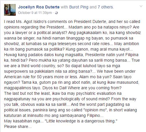 presidential sister post against Agot Isidro