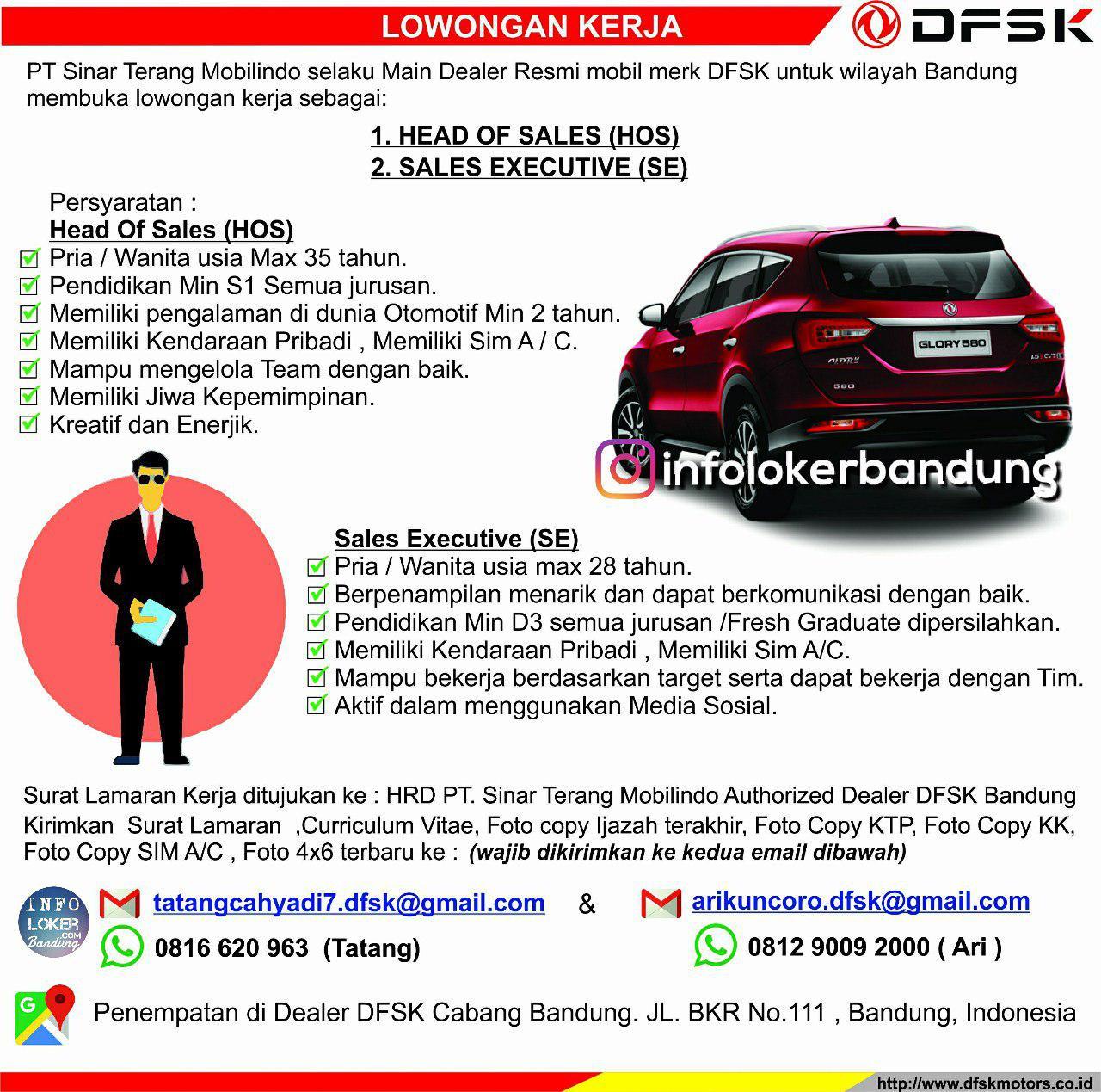 Lowongan Kerja PT. Sinar Terang Mobilindo ( DFSK Mobil ) Bandung Agustus 2018 - infolokerbandung.com