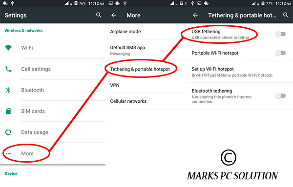 Settings > Network > USB Tethering