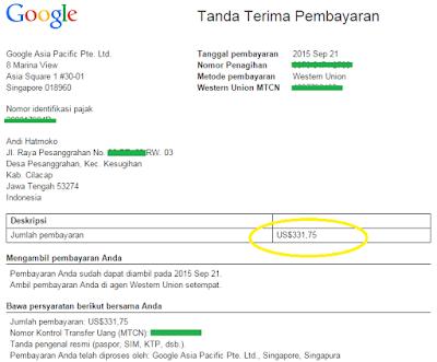 Pengalaman Mengambil Pembayaran Google Adsense