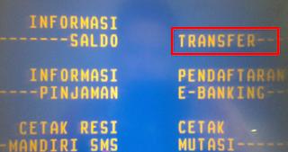 cara transfer dari bank mandiri ke bca lewat atm