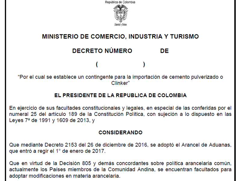 Proyecto decreto contingente clinkerVF 2017