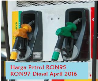 Harga minyak Petrol RON95 RON97 Diesel Bulan April 2016