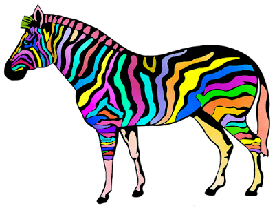 multi coloured striped zebra