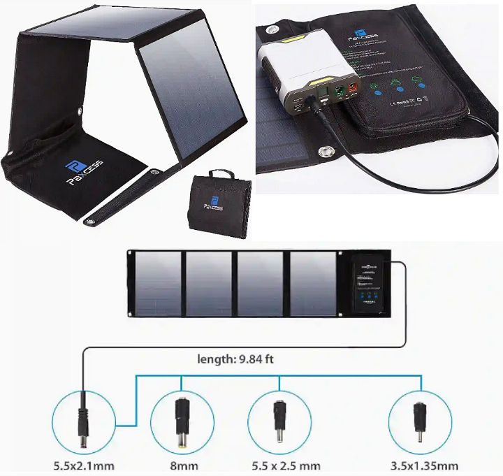 Fifty-Watt Paxcess Solar-Powered Energy Board - Foldable Solar-Panel Power Bank Mobile Charger