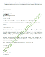Request Letter to return back Cheque
