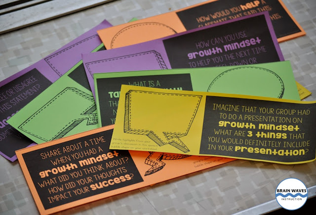 Get students thinking deeply about growth mindset with discussion cards.  Students can work in small groups to discuss thought-provoking questions about growth mindset.