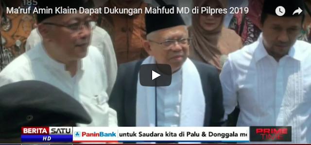 Maruf Amin: Mahfud MD Mengatakan Kita Sekarang Bersama-sama Dukung Jokowi