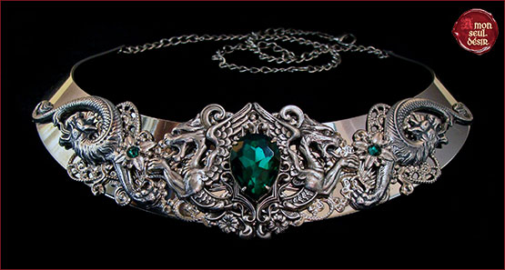 collier medieval renaissance dragon argent vert emeraude daenerys targaryen necklace silver dragons fantasy jewelry queen game of thrones
