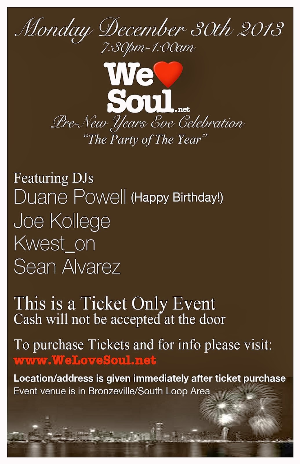 Monday 12/30: We Love Soul Pre-NYE Celebration