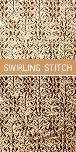 How To #Knit the Swirling eyelet lace stitch. Quick and easy to knit, great for beginners. #knittingpatterns #easytoknit
