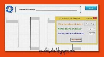 Generador de ejercicios para divisiones ABN, con decimales