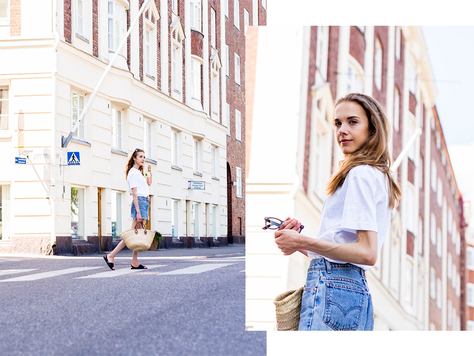 muotiblogi-bloggaaja-helsinki-streetstyle-kesämuoti-levis-farkkushortsit-korilaukku