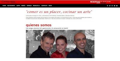 Web del restaurante Cornucopia en Madrid, con sus actuales propietarios