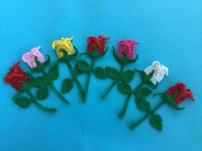 rosebud crochet applique