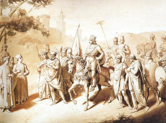 Γκραβούρα του 19ου αιώνα; ο Τιγράνης της Αρμενίας με 4 υποτελείς βασιλείς