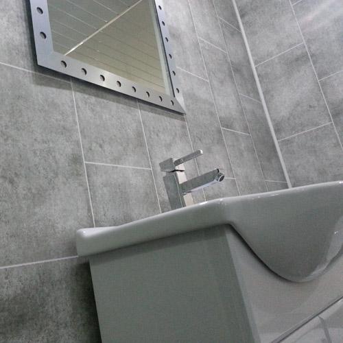 Grey Tile Effect Bathroom Cladding