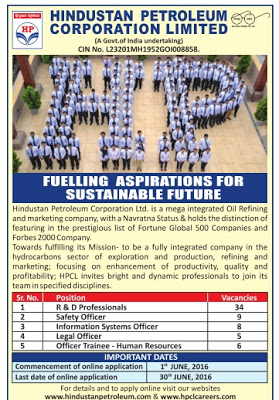 Hindustan Petroleum Corporation Limited (HPCL) Recruitment 2016 - 62 R&D Professional, Safety Officer, Officer Trainee Posts