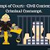 न्यायालय की अवमानना :- सिविल अवमानना और आपराधिक अवमानना।