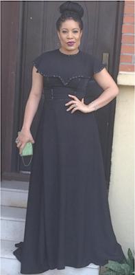 beautiful black dress of actress and TV Host Monalisa Chinda-Coker