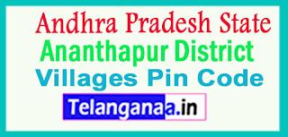Ananthapur District Pin Codes in Andhra Pradesh State