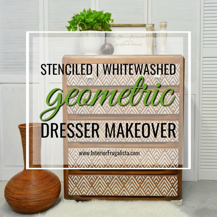 Stenciled Geometric Dresser Makeover