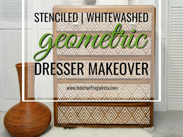 Whitewashed Geometric Dresser Makeover