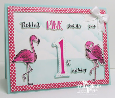 ODBD Tickled Pink, ODBD Custom Flamingos Dies, ODBD Custom Large Numbers Dies, ODBD Custom Pierced Rectangles Dies, ODBD Custom Clouds and Raindrops Dies, ODBD Boho Bolds Paper Collection, Card Designer Angie Crockett