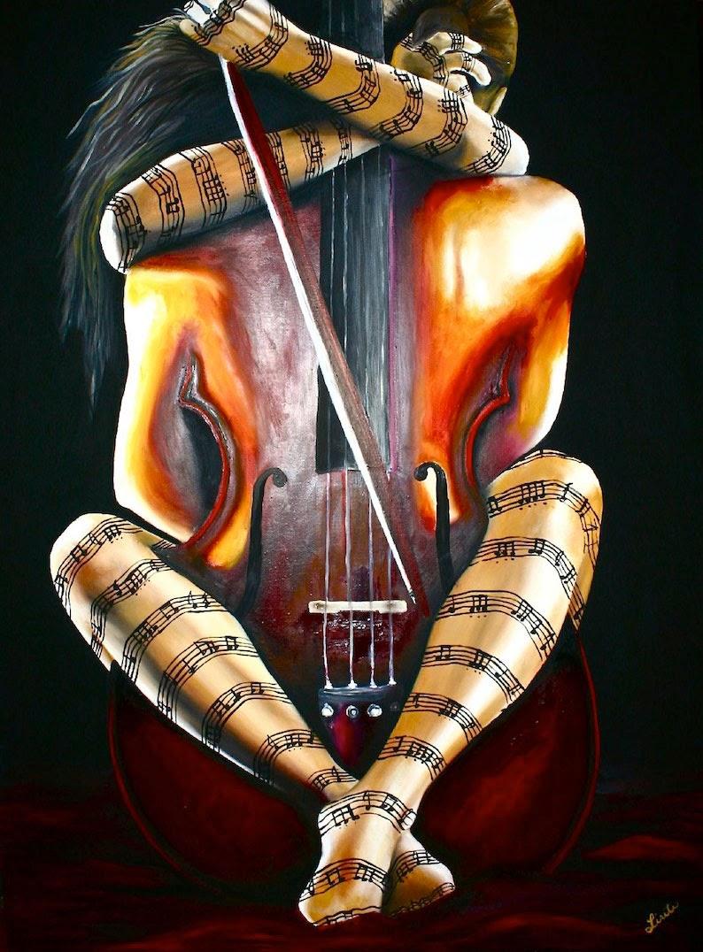 A Música Fazendo Amor -  Pinturas de Lisete Alcalde | O pintor que toca o coração