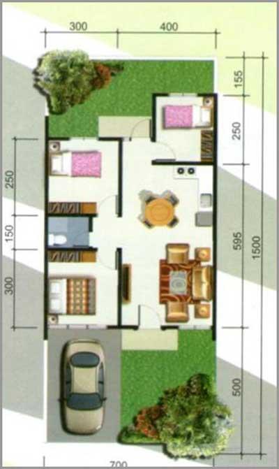 denah rumah 3 kamar ukuran 7x15
