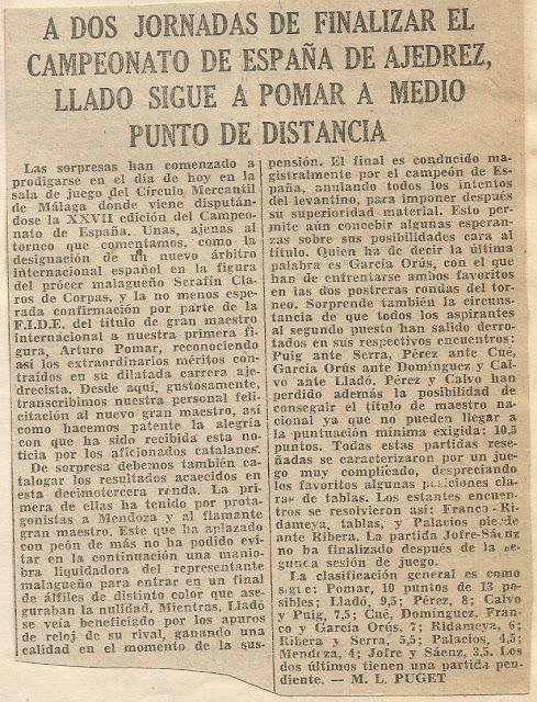 Recorte del Diario de Barcelona sobre el Campeonato de España de Ajedrez de 1962