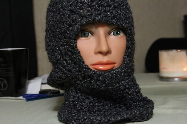 ninja mask, balaclava, crochet, finished project, homespun, Lion Brand
