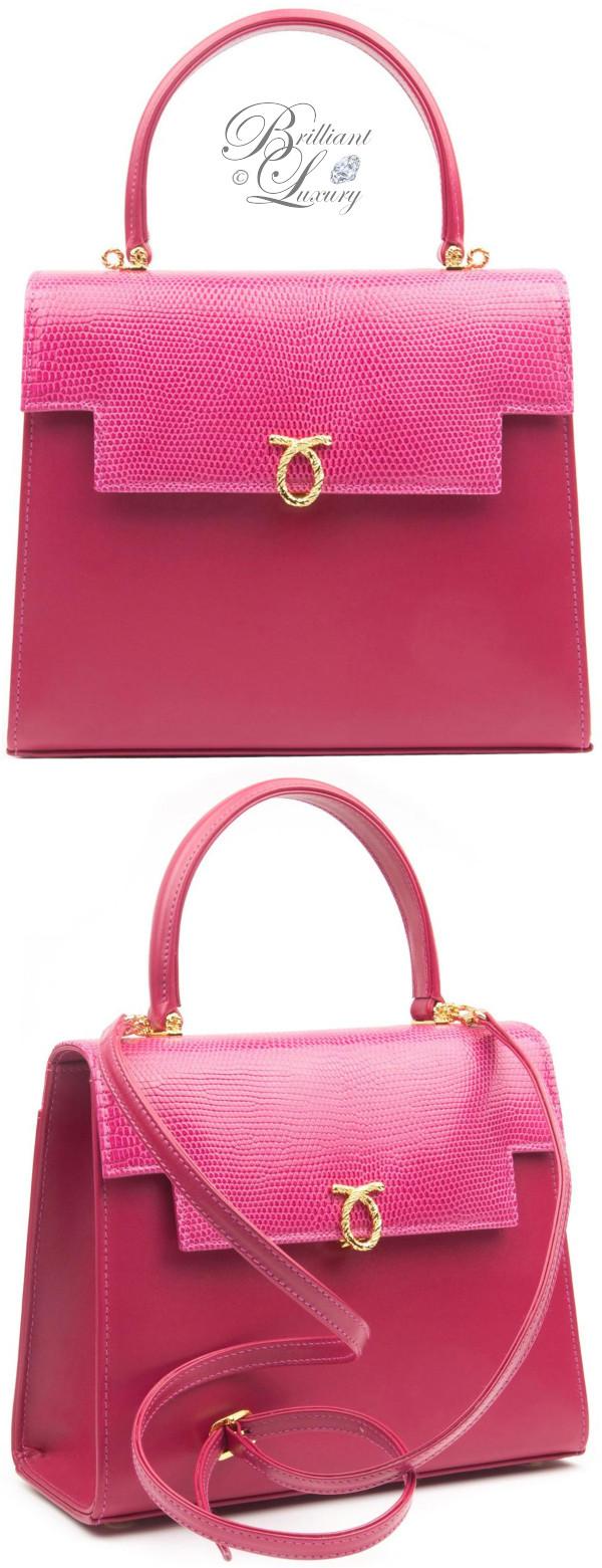 Brilliant Luxury ♦ Launer Traviata top handle handbag dark pink with lizard flap