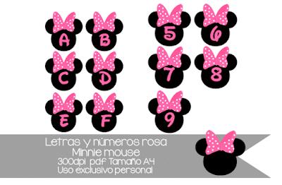 letras minnie mouse rosa y números