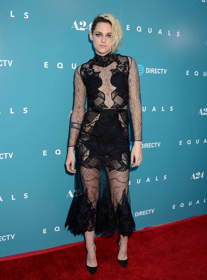 Kristen Stewart flashes skin at the 'Equals' premiere in Hollywood