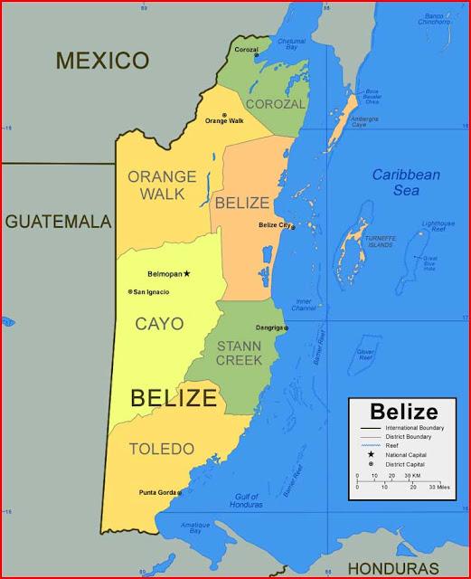 Gambar Peta Distrik Belize