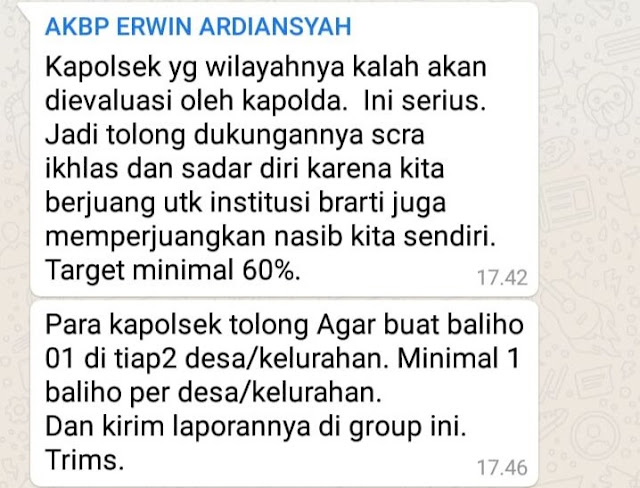 Polri Usut Isu Grup Whatsapp Kerahkan Kapolsek Dukung Jokowi