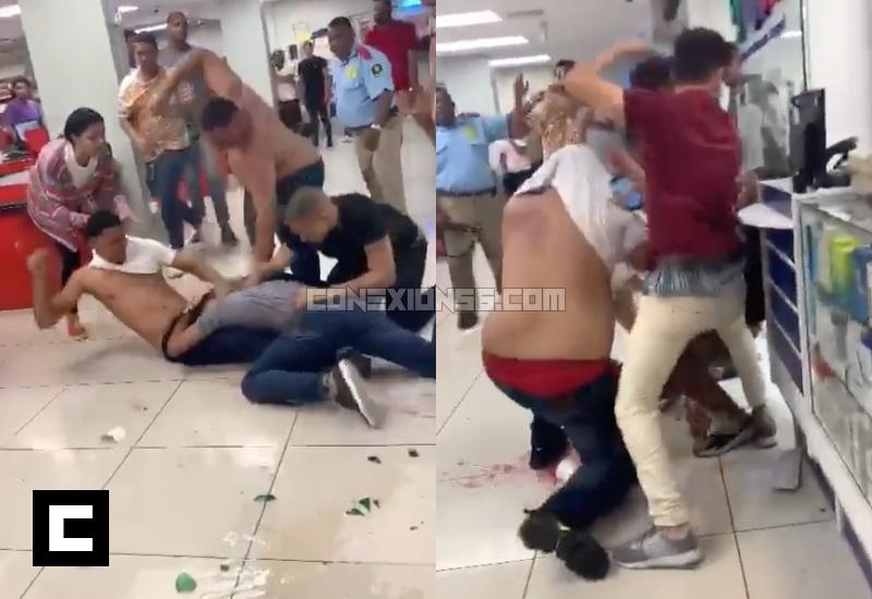 """Video: Trompadas y botellazos en """"Supermercado Dragón de Oro"""" en Santo Domingo"""