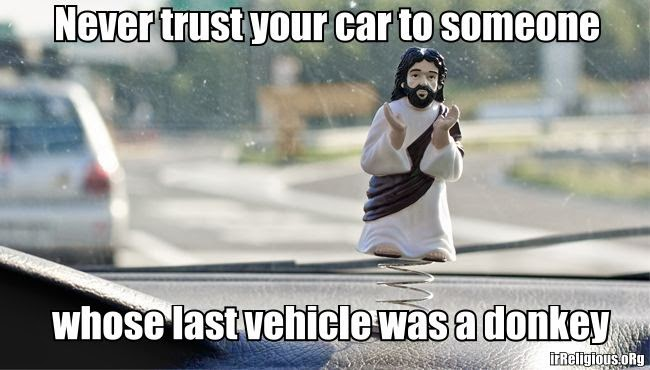 Funny Bobble Jesus Car Co-pilot Joke Picture