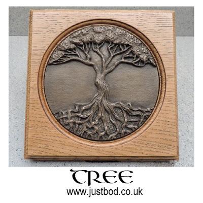 Tree of Life wall plaque in bronze & oak