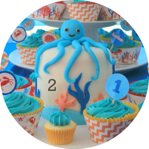 Under the Sea Ocean themed party food ideas.Party supplies personalised with your child's name!