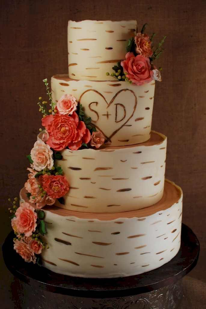 Cup a Dee Cakes Blog Birch Wood Grain Wedding Cake