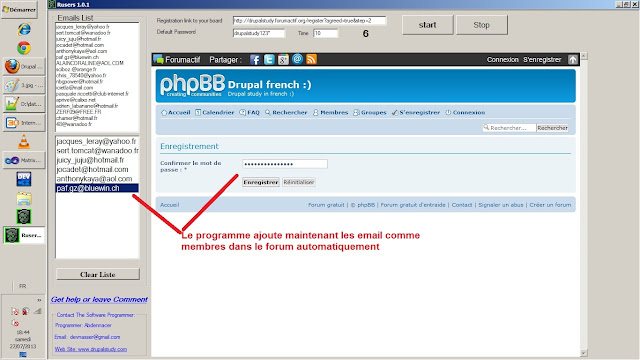Le programme est dans le processus d'enregistrement des adresses e-mail dans le forum gratuit