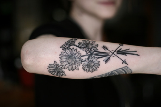 Arrow with Sunflower Tattoo Design