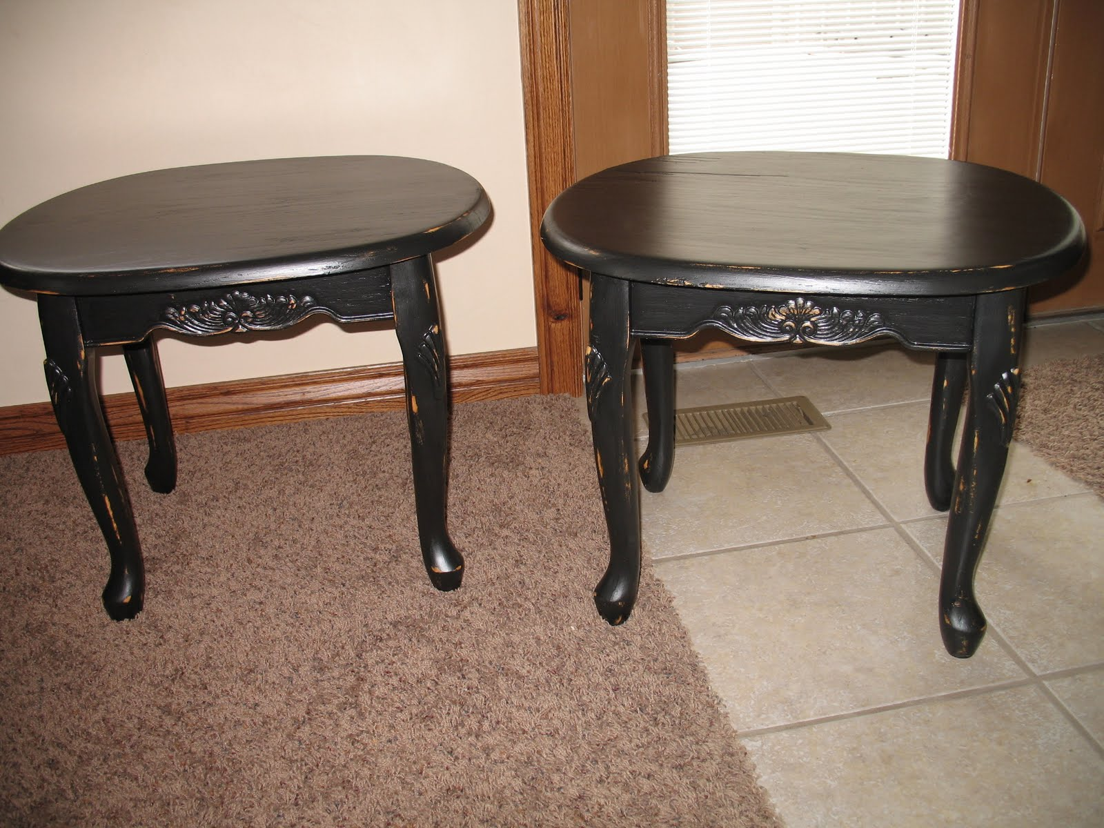 shabby and chic: Black Coffee table and End Tables