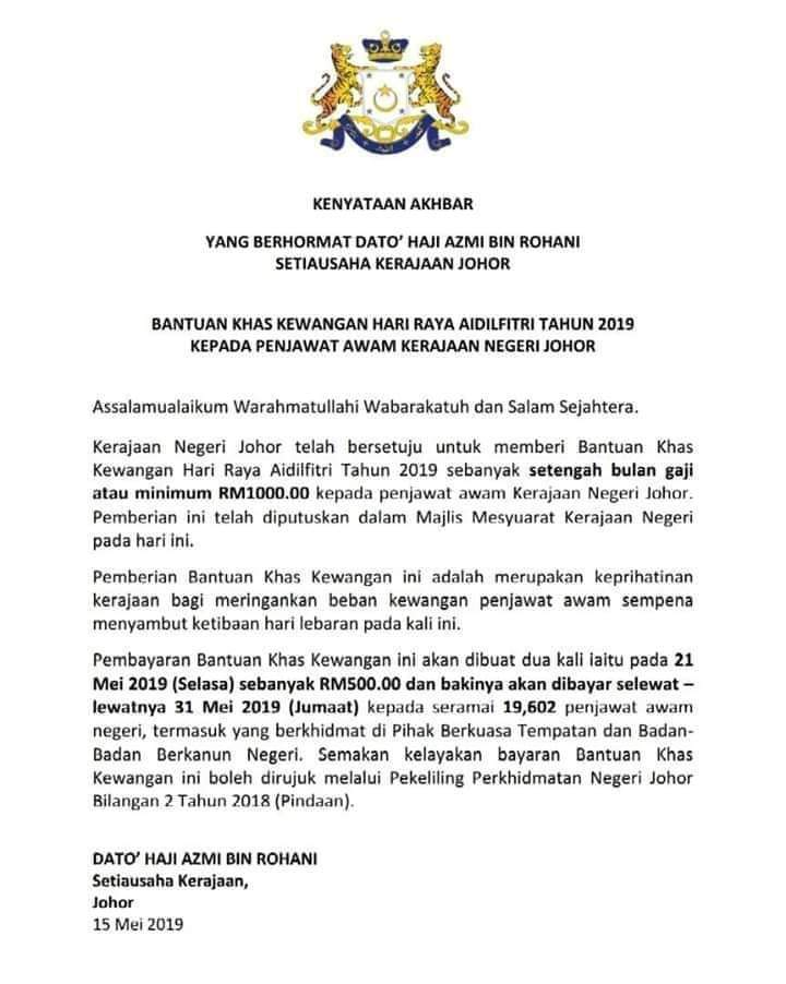 Tarikh Bayaran Bonus Penjawat Awam Johor 2020 My Panduan