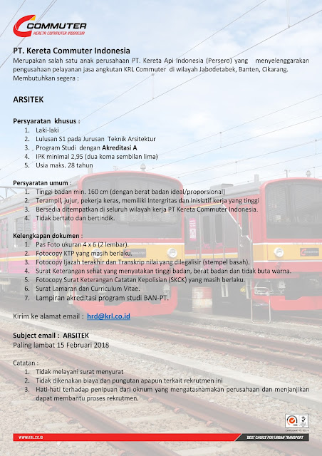 Lowongan Kerja PT. Kereta Commuter Indoneisa