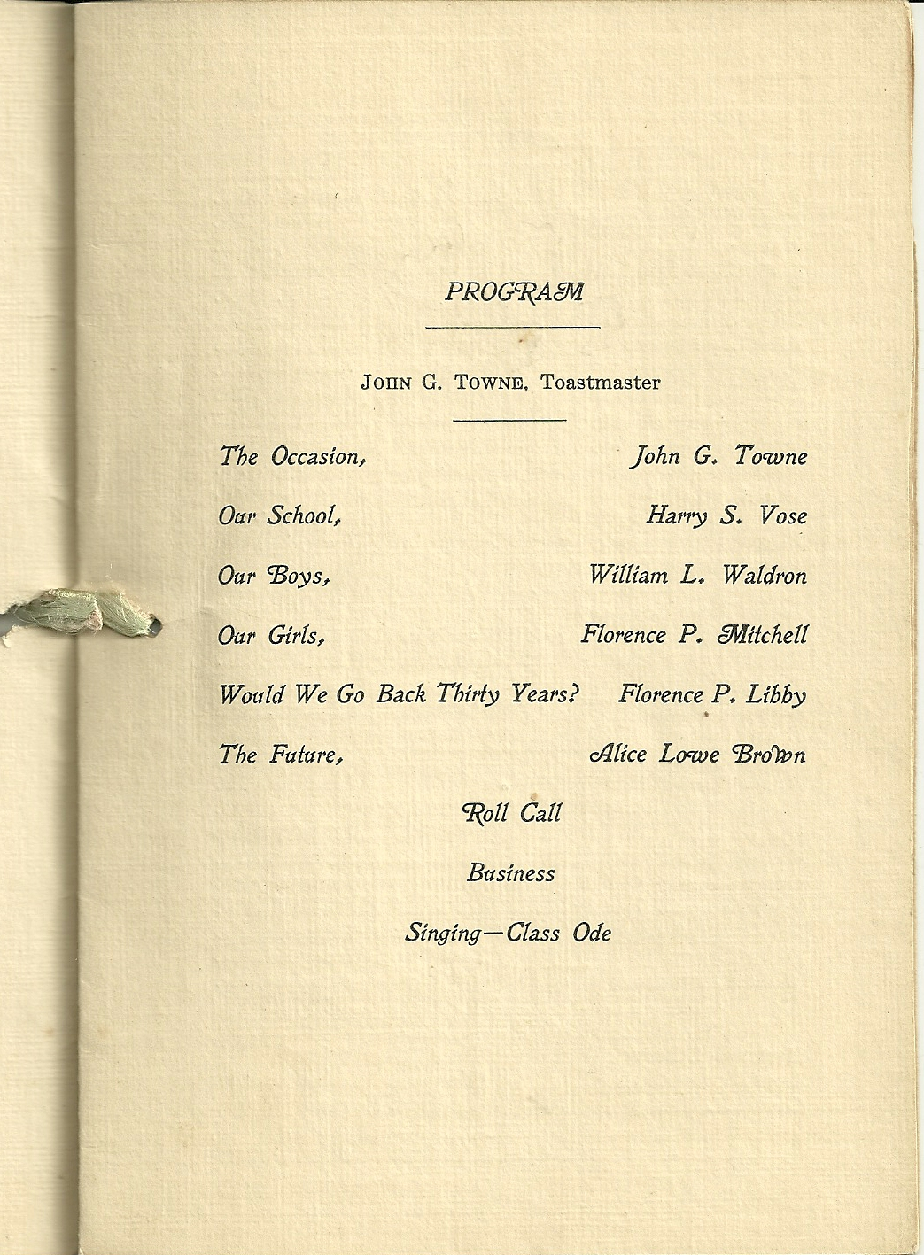 Heirlooms reunited 1924 reunion program bklt of class of for Class reunion program template