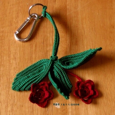 Irish Crochet Roses and Leaves Keychain - Handmade by Ruth Sandra Sperling of RSS Designs In Fiber